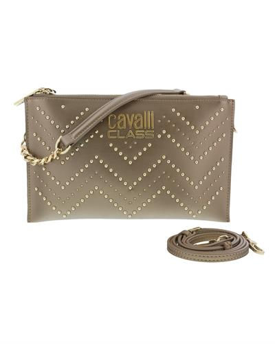 Roberto Cavalli HXLPH1 102 Brand New Clutch  Bronze Genuine Calf Leather and  Bronze PVC