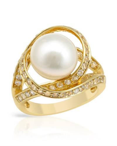 PEARL LUSTRE Brand New Ring with 1.3ctw of Precious Stones - pearl and topaz 14K/925 Yellow Gold plated Silver