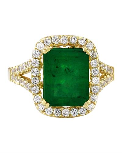 4.47 Carat Natural Emerald 14K Solid Yellow Gold Diamond Ring