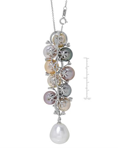 Julius Rappoport Brand New Necklace with 0.4ctw of Precious Stones - diamond and pearl 18K White gold
