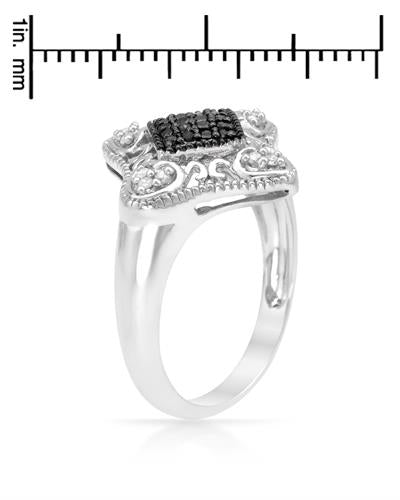 Brand New Ring with 0.21ctw of Precious Stones - diamond and diamond 925 Silver sterling silver