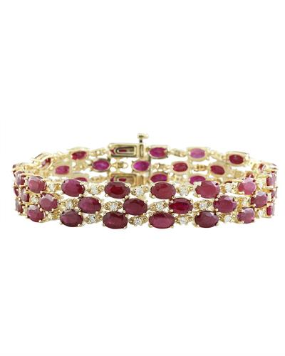 37.96 Carat Ruby 14K Yellow Gold Diamond Bracelet