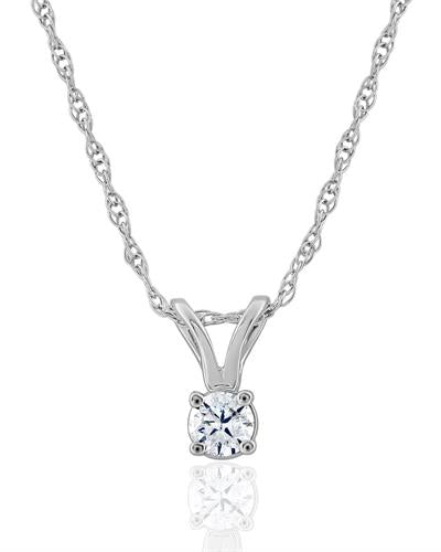 Brand New Necklace with 0.1ctw diamond 14K White gold