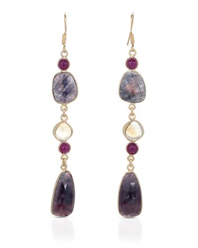 Brand New Earring with 42.73ctw of Precious Stones - citrine, ruby, and sapphire 10K/925 Rose Gold plated Silver