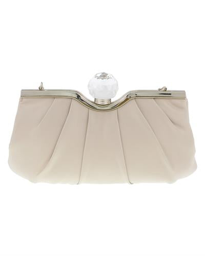 Scheilan Brand New Clutch with 0ctw crystal  Beige Satin