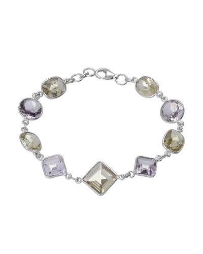 Brand New Bracelet with 23.91ctw of Precious Stones - amethyst and quartz 925 Silver sterling silver
