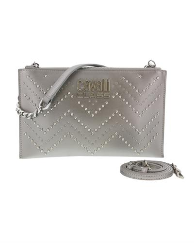 Roberto Cavalli HXLPH1 001 Brand New Clutch  Silver Genuine Calf Leather and  Silver PVC