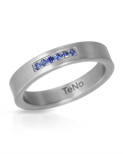 TeNo Brand New Ring with 0.12ctw sapphire  Metallic Stainless steel