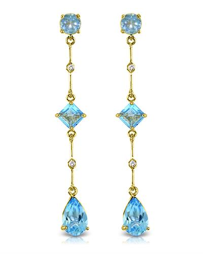 Magnolia Brand New Earring with 6.06ctw of Precious Stones - diamond and topaz 14K Yellow gold