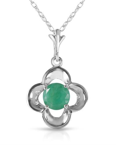 Magnolia Brand New Necklace with 0.55ctw emerald 14K White gold