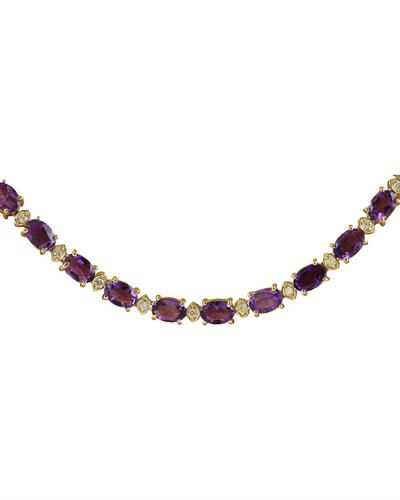 Brand New Necklace with 27.5ctw of Precious Stones - amethyst and diamond 14K Yellow gold