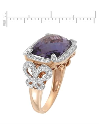 Michael Christoff Brand New Ring with 6.96ctw of Precious Stones - amethyst and diamond 14K Rose gold