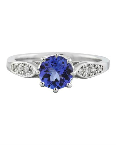 Brand New Ring with 1.21ctw of Precious Stones - diamond and tanzanite 14K White gold
