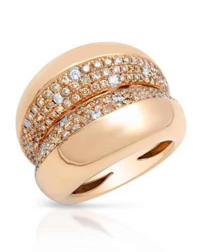 Brand New Ring with 1.39ctw of Precious Stones - diamond and diamond 18K Rose gold