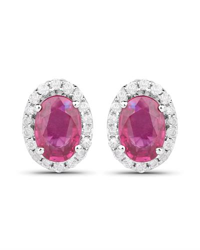 Brand New Earring with 1.29ctw of Precious Stones - diamond and ruby 14K White gold