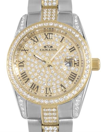 Oniss ON3880-2TG PARIS Brand New Japan Quartz date Watch with 0ctw crystal