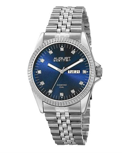 AUGUST Steiner AS8169BU Brand New Japan Automatic multifunction Watch with 0.06ctw diamond