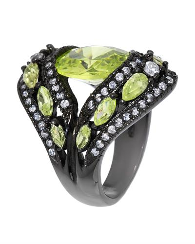 Brand New Ring with 0ctw of Precious Stones - cubic zirconia and cubic zirconia 925 Black sterling silver