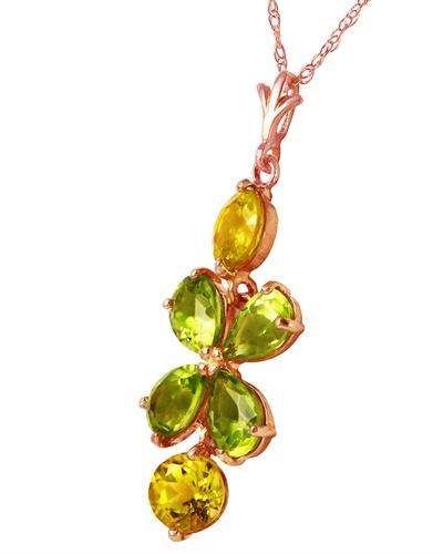 Magnolia Brand New Necklace with 3.15ctw of Precious Stones - citrine and peridot 14K Rose gold