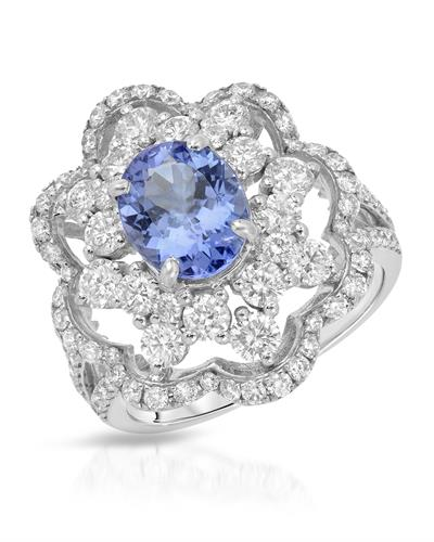 Julius Rappoport Brand New Ring with 3.68ctw of Precious Stones - diamond and tanzanite 18K White gold