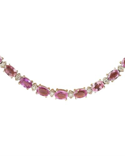Brand New Necklace with 29.13ctw of Precious Stones - diamond and sapphire 14K White gold