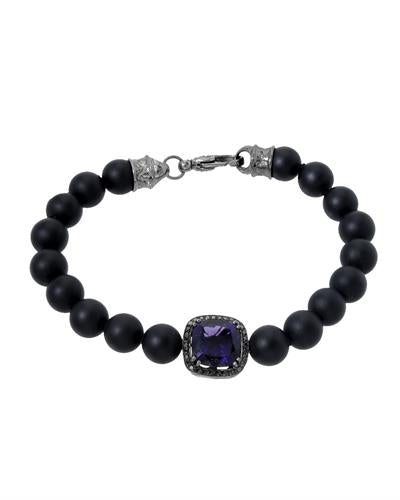 HELLMUTH Brand New Bracelet with 3.83ctw of Precious Stones - amethyst, diamond, and onyx 925 Black sterling silver