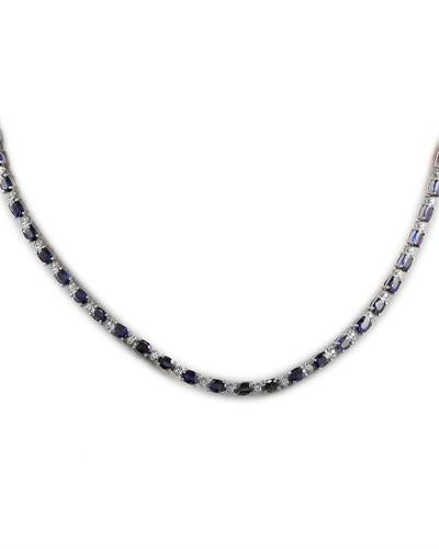 34.39 Carat Sapphire 14K White Gold Diamond Necklace