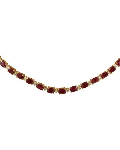 33.31 Carat Ruby 14K Yellow Gold Diamond Necklace