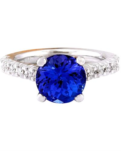 Brand New Ring with 3.81ctw of Precious Stones - diamond and tanzanite 14K White gold