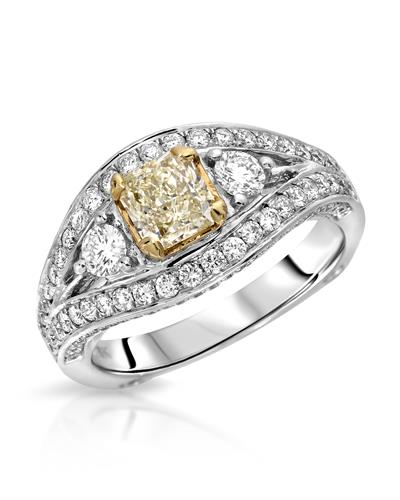 Brand New Ring with 1.8ctw of Precious Stones - diamond and diamond 18K Two tone gold