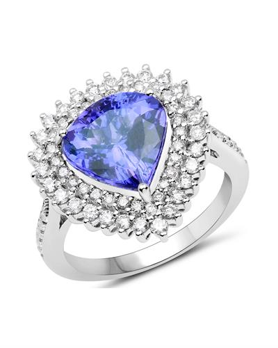Julius Rappoport Brand New Ring with 4.61ctw of Precious Stones - diamond and tanzanite 14K White gold