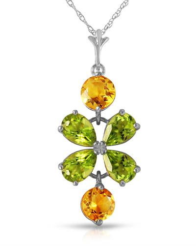 Magnolia Brand New Necklace with 3.15ctw of Precious Stones - citrine and peridot 14K White gold