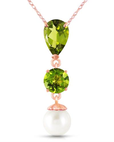Magnolia Brand New Necklace with 2.75ctw of Precious Stones - pearl and peridot 14K Rose gold