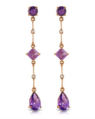 Magnolia Brand New Earring with 6.06ctw of Precious Stones - amethyst and diamond 14K Rose gold