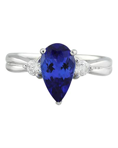 Brand New Ring with 1.7ctw of Precious Stones - diamond and tanzanite 14K White gold