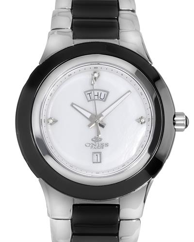Oniss ON435-M/BK/WH PARIS Brand New Swiss Quartz day date Watch with 0.02ctw of Precious Stones - diamond and mother of pearl
