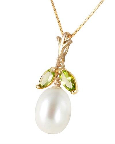 Magnolia Brand New Necklace with 0.5ctw of Precious Stones - pearl and peridot 14K Yellow gold