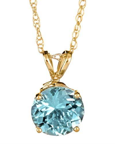 Brand New Necklace with 1.25ctw aquamarine 14K Yellow gold