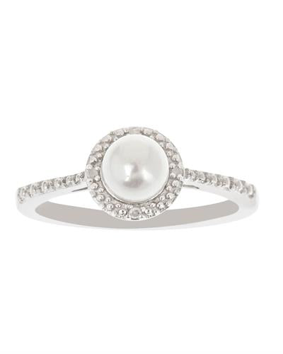 Brand New Ring with 0.01ctw of Precious Stones - diamond and pearl 925 Silver sterling silver