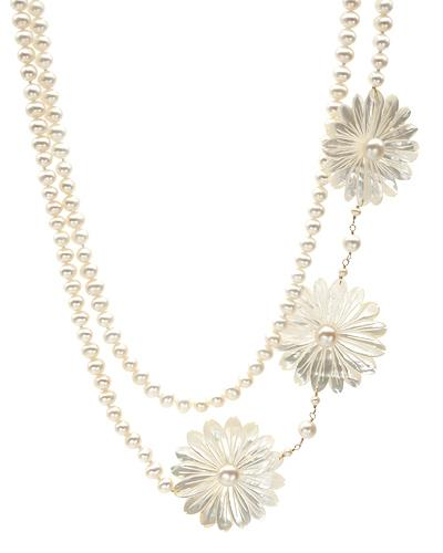 PEARL LUSTRE Brand New Necklace with 0ctw of Precious Stones - mother of pearl and pearl 14K Yellow gold