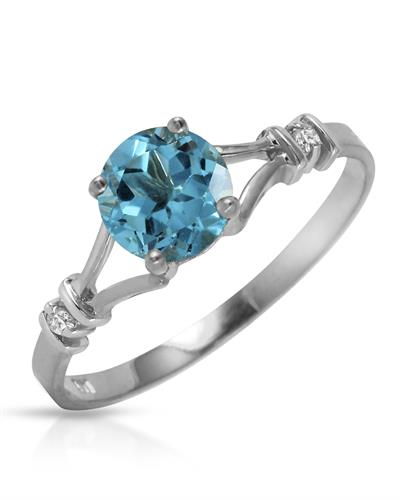 Magnolia Brand New Ring with 1.02ctw of Precious Stones - diamond and topaz 14K White gold