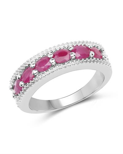 Brand New Ring with 1.33ctw of Precious Stones - diamond and ruby 925 Silver sterling silver