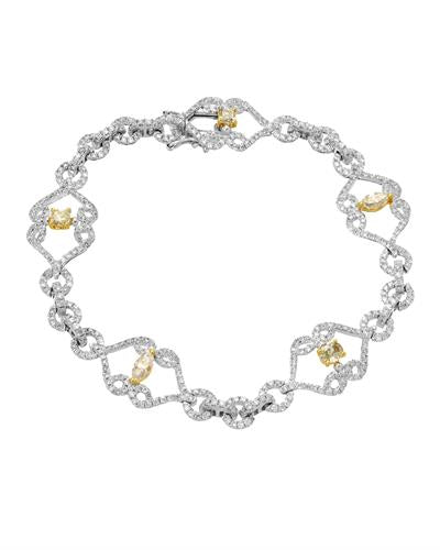 Julius Rappoport Brand New Bracelet with 2.61ctw of Precious Stones - diamond and diamond 14K Two tone gold