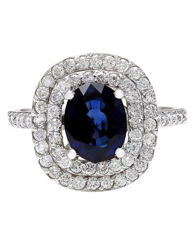 3.48 Carat Natural Sapphire 14K Solid White Gold Diamond Ring