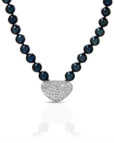 PEARL LUSTRE Brand New Necklace with 1ctw of Precious Stones - diamond and pearl 925 Silver sterling silver