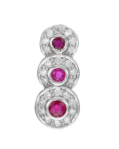 Brand New Pendant with 0.52ctw of Precious Stones - diamond and ruby 14K White gold
