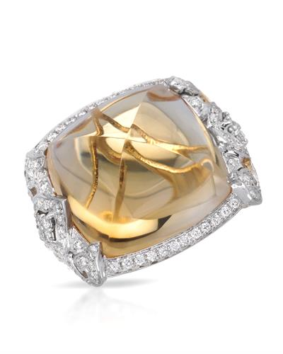 Michael Christoff Brand New Ring with 26ctw of Precious Stones - citrine and diamond 14K Yellow gold