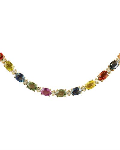 Brand New Necklace with 41.3ctw of Precious Stones - diamond and sapphire 14K Yellow gold