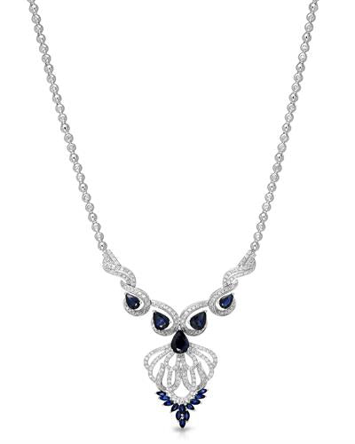 Lundstrom Brand New Necklace with 6.64ctw of Precious Stones - diamond and sapphire 14K White gold