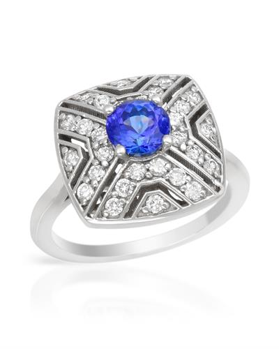 Brand New Ring with 1.55ctw of Precious Stones - diamond and sapphire 14K White gold